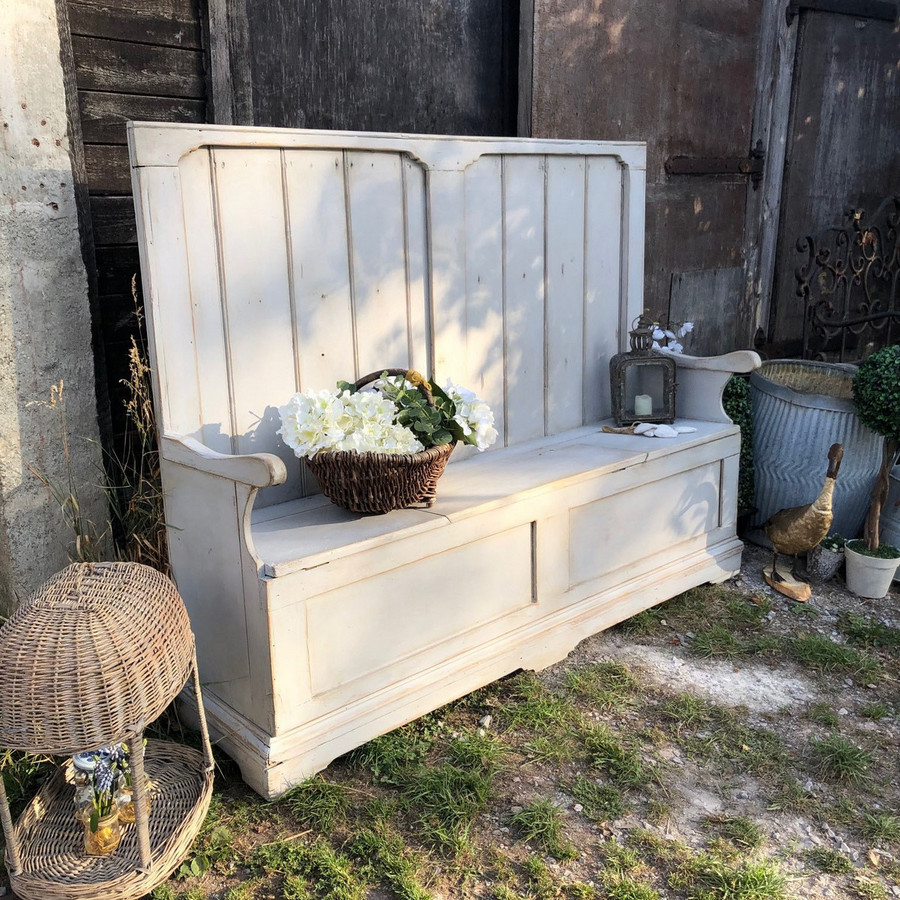 Sensational Grey Hand Painted Country Farmhouse Rustic Patina Vintage Pine Settle Bench Storage Evergreenethics Interior Chair Design Evergreenethicsorg