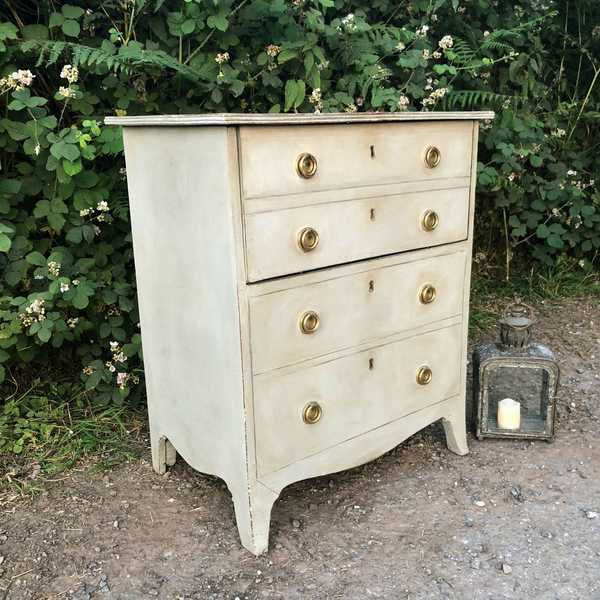 Adorable Grey Hand Painted Country Style Vintage Commode Bedside Cabinet Brass Handles
