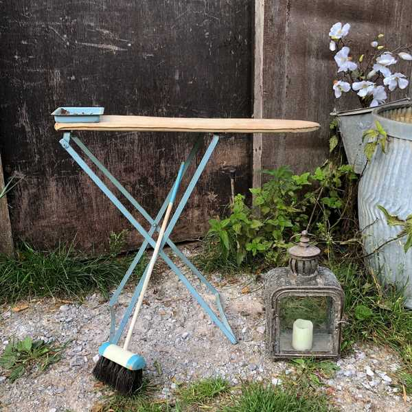 Charming Vintage Child's Turquoise Broom Stick and Triang Folding Ironing Board