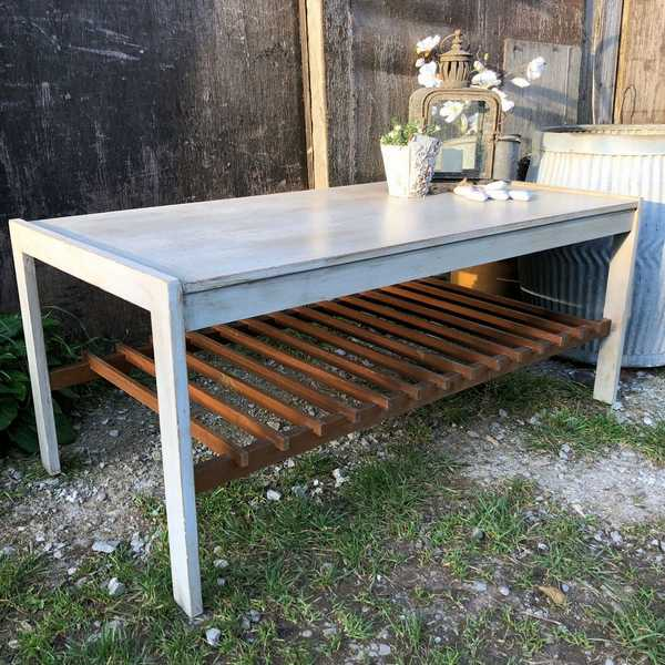 Retro Vintage Grey Painted Teak 1970s Coffee Table / TV Stand With Magazine Shelf