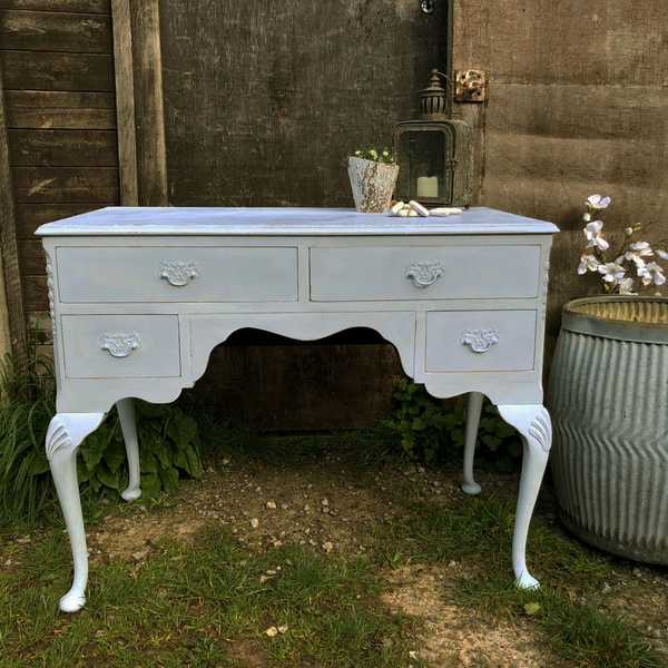 Light Blue Hand Painted Pretty Vintage 4 Drawer Dressing Table / Desk / Cabriole Legs