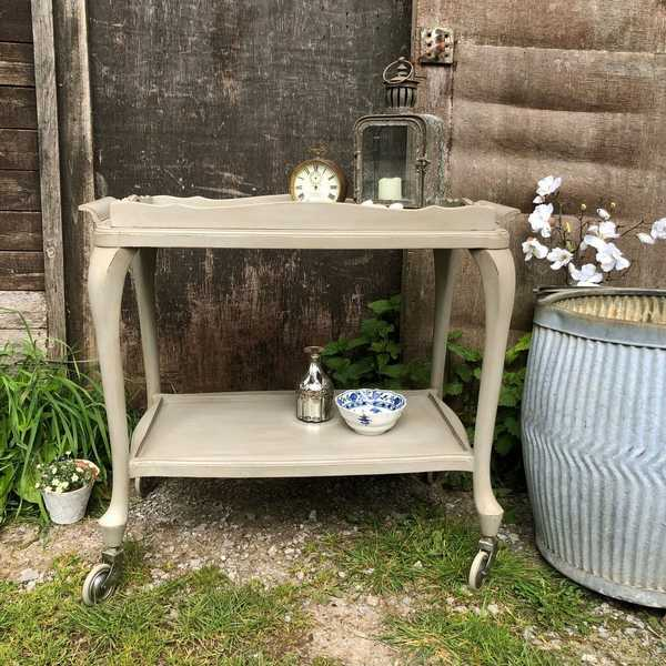 French Linen Grey Painted Vintage Country Chic Trolley Side Table on Wheels & Tray