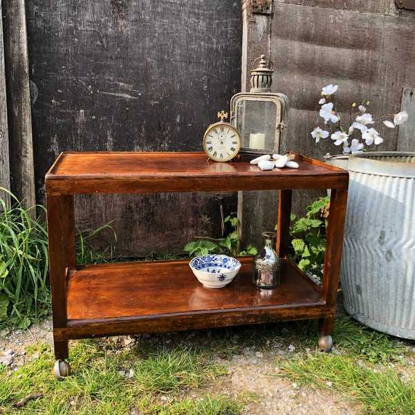 Characterful Honey Coloured Vintage Retro Two Tier Trolley Side / Bedside Table