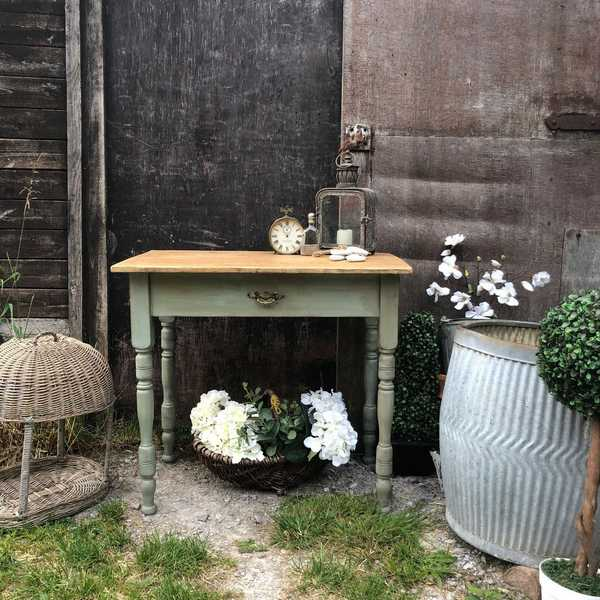 Duck Egg Blue Vintage Country Farmhouse Pine Breakfast Side Table Desk Sink Base