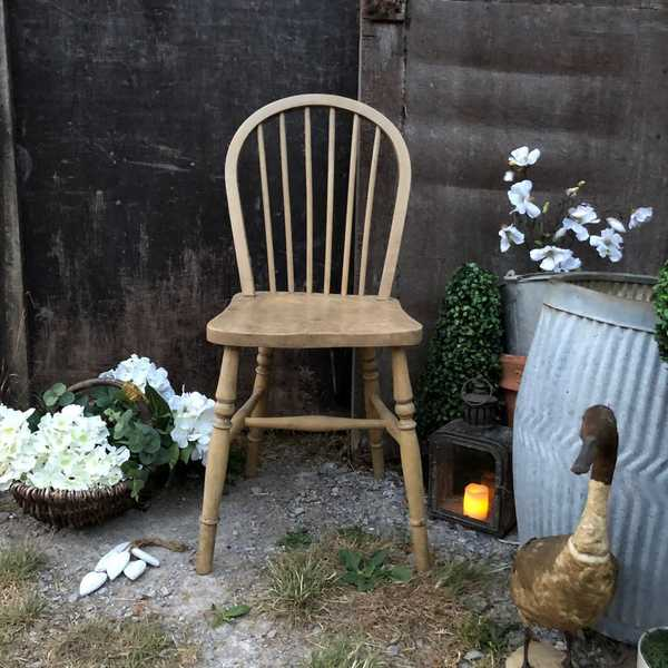 Blonde Patina Vintage Pine Country Cottage Farmhouse Kitchen Occasional Chair