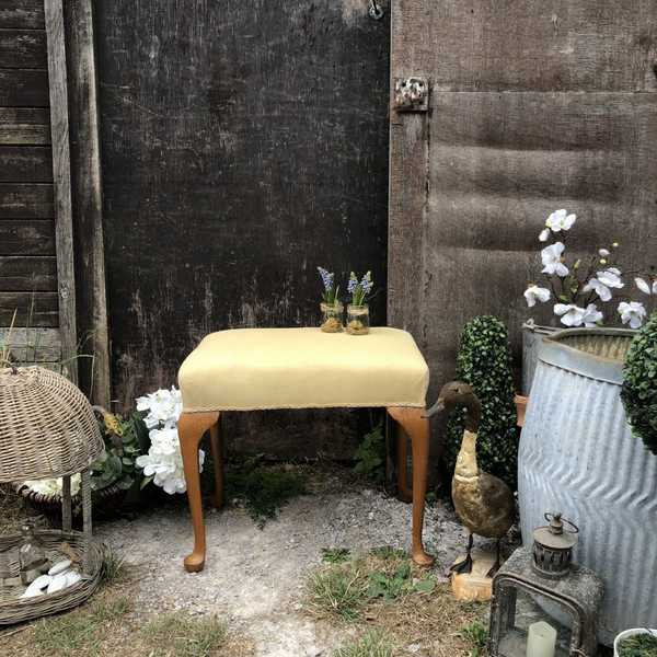 Upholstery Project Yellow Fabric Elegant Vintage Honey Brown Legs Dressing Table Stool