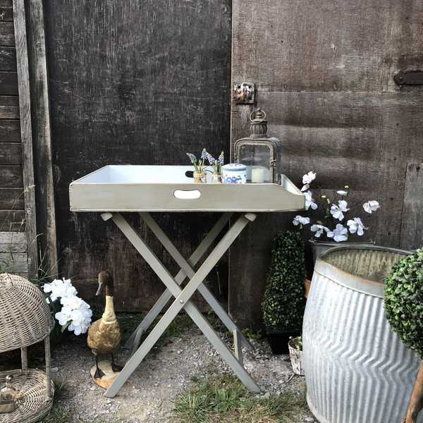 Country Chic Vintage Grey White Hand Painted Folding Butler's Tray Side / Bedside Table