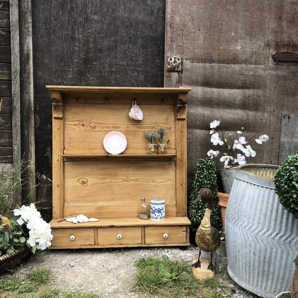 Charming Antique Vintage Country Farmhouse Patina Pine Wall Cabinet Shelves Unit