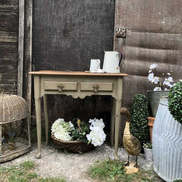 Rustic Country Farmhouse Grey Hand Painted Oak Console Table Desk Bedside Table