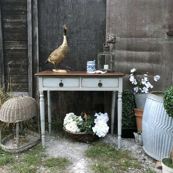 Rustic Vintage Grey Hand Painted Country Farmhouse Mahogany Console Table Desk