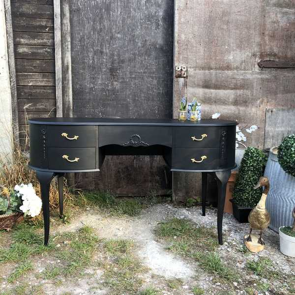 Coal Black Hand Painted Vintage French Rococo Style Kidney Shaped Dressing Table / Desk