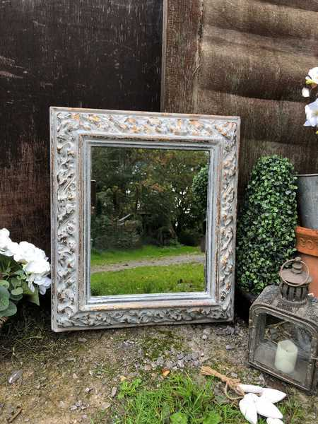 Grey Hand Painted Ornate Bronze Country Tudor Rectangular Vintage Wall Mirror