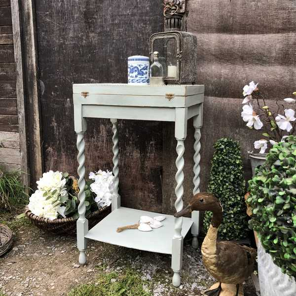Country Chic Duck Egg Blue Hand Painted Vintage Fabric Lined Bedside / Side Table