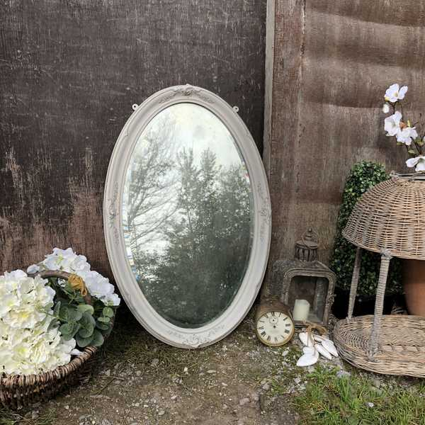 Romantic Grey Hand Painted Oval Bevelled Vintage Wall Mirror With Pretty Details