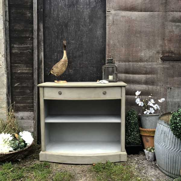 Grey Hand Painted Gustavian Country Style Vintage Classic Low Bookcase Console Table