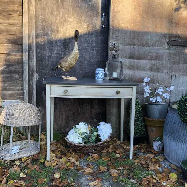 Gustavian Country Style Vintage Grey Hand Painted Bow Fronted Console Table Desk