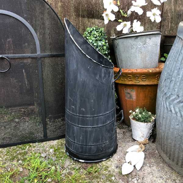 Charming Country Farmhouse Vintage Black Metal Tall 2 Handle Upright Coal Bucket