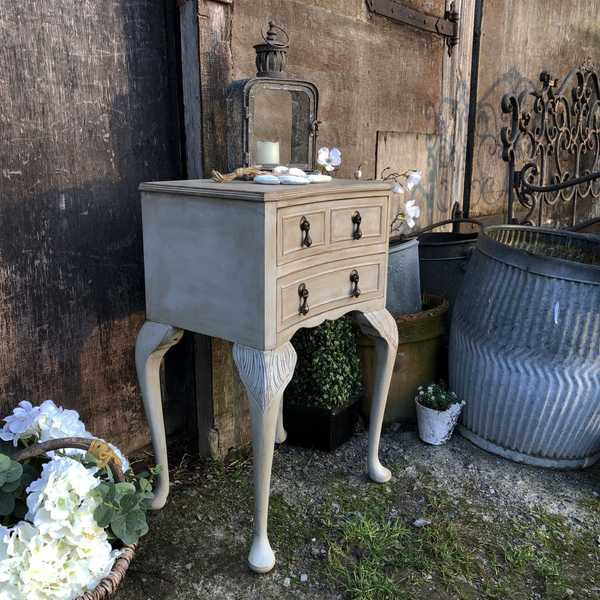 Concave Shaped Grey Painted 2 Drawer Carved Country Chic Vintage Bedside Table