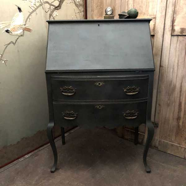Dramatic Black Painted French Country Farmhouse Style Oak Bureau / Writing Desk