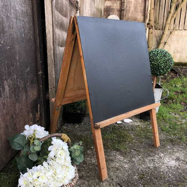 Traditional Vintage Children's A Framed Double Sided Chalk / Blackboard Notice Board