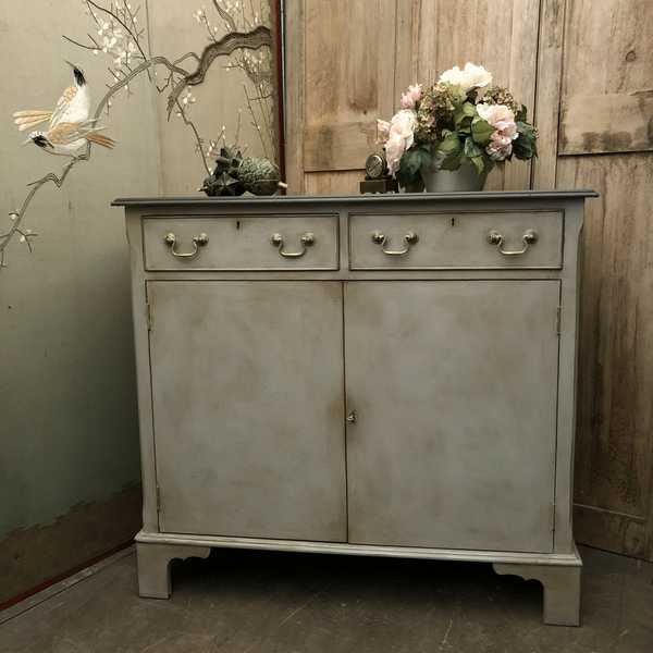 Gustavian Country Style Two Toned Grey Hand Painted Vintage Sideboard Cupboard