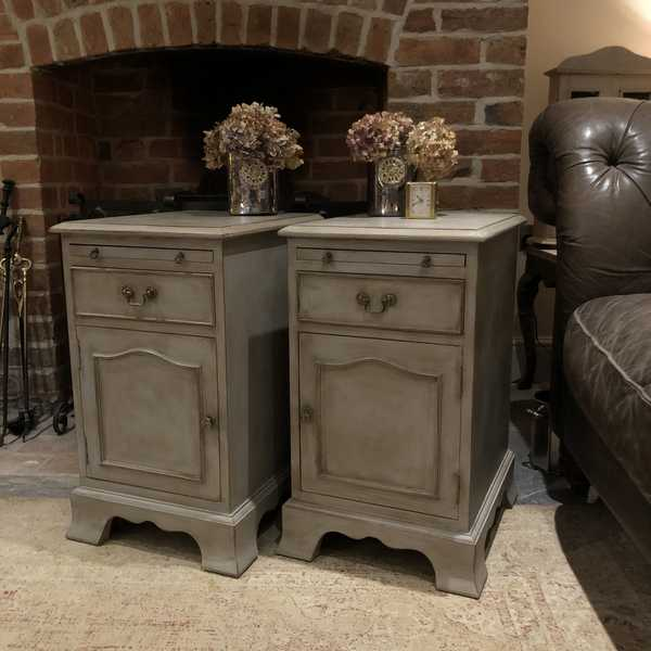 Matching Pair of Vintage Grey Hand Painted Country Chic Bedside Cabinets / Tables