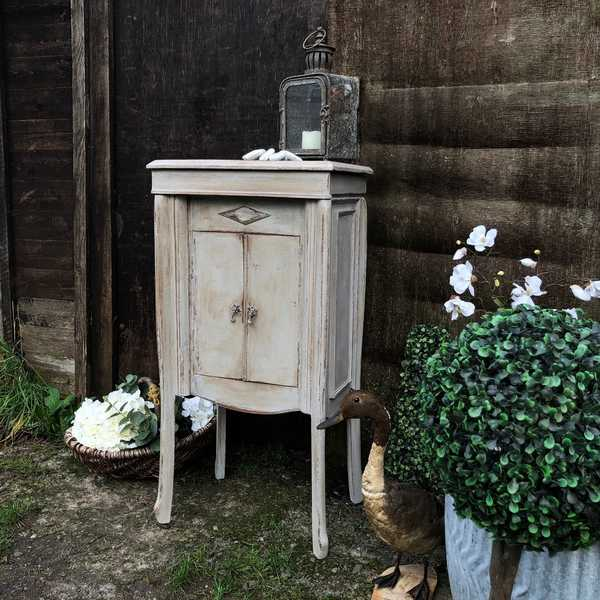 Rustic Antique Vintage Grey Hand Painted French Country Bedside Table Pot Cupboard