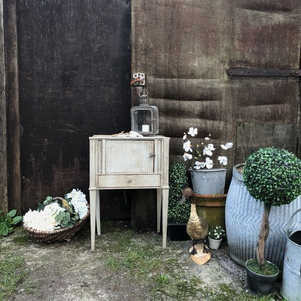 Rare Antique Grey Rustic Gustavian / Georgian Country Pot Cupboard / Bedside Table