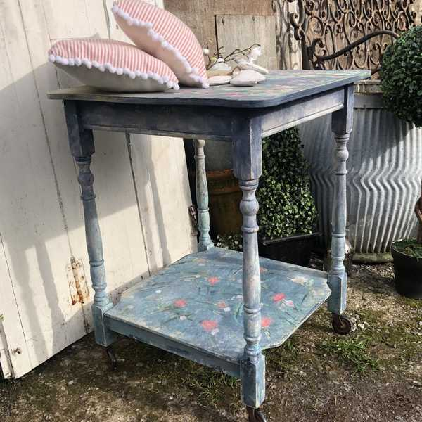 Boho Flowers Monet Colour Blended Hand Painted Vintage Side Bedside Table On Casters