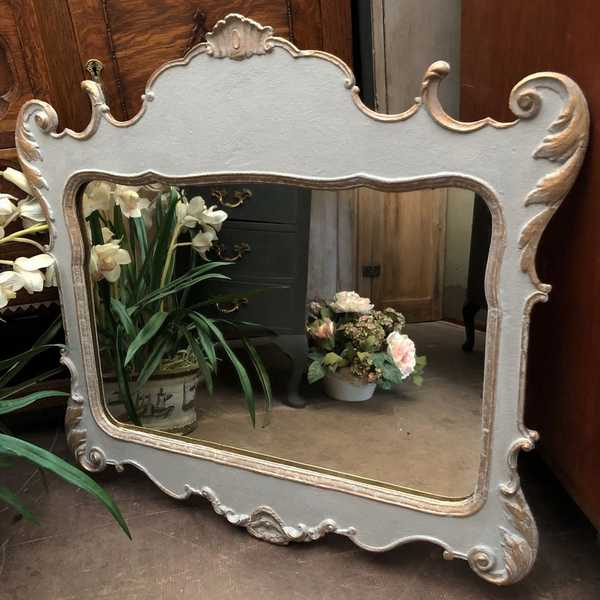 RESERVED! Paris Grey & Gold Painted Romantic Rococo style Wall Mirror Vintage Mirror Glass