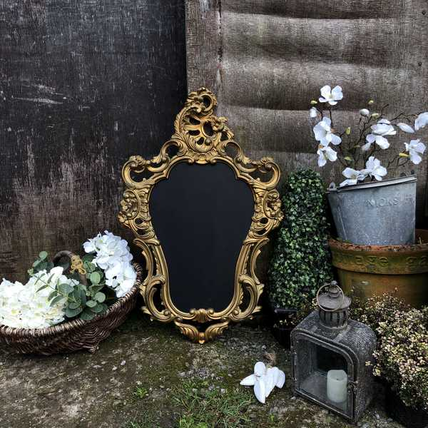 Gold French Baroque Rococo Style Framed Wall Mounted Blackboard / Noticeboard