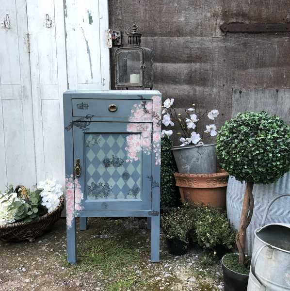 Boho Painted Duck Egg Blue Vintage Faux Marble Bedside Cabinet Roses Birds Crowns