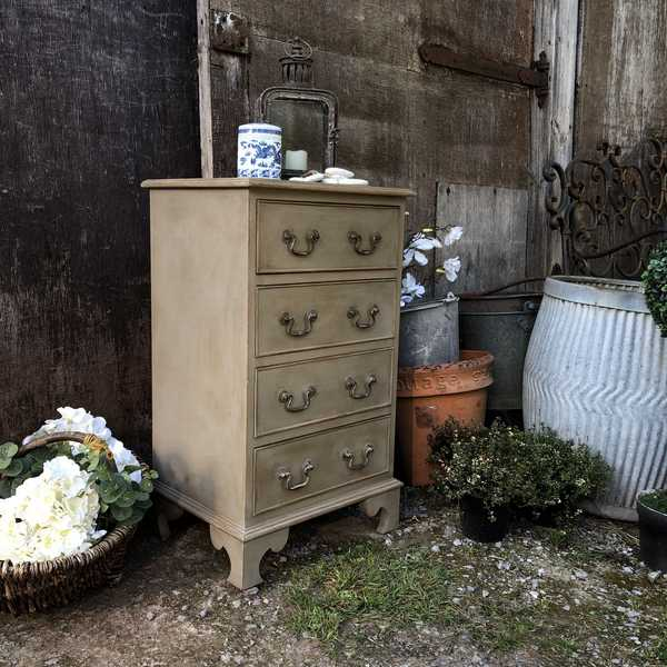 Grey Painted Country Vintage Bedside Table / Chest of Drawers Blue White Toile Interior
