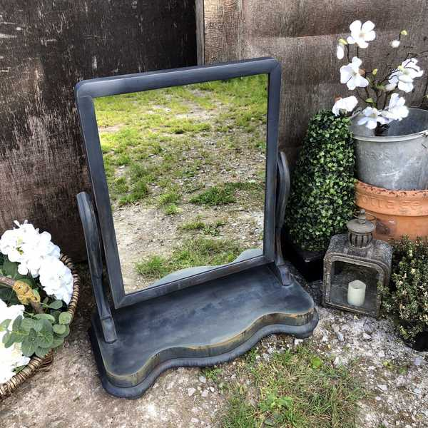 Boho Style Blue Hand Painted Antique Victorian Country Farmhouse Adjustable Swing Mirror