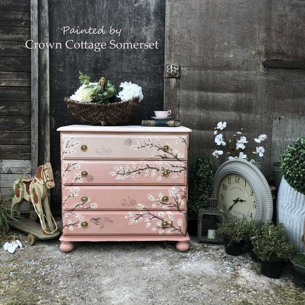 Pink Colour Blend Painted Cherry Blossom & Birds Vintage Boho Style Chest of Drawers