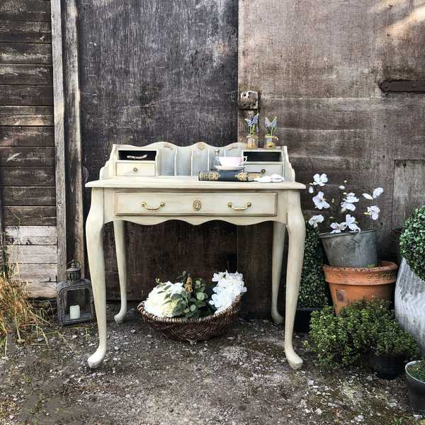 Grey Hand Painted Country Gustavian Style Lady's Desk / Dressing Table / Basin Base