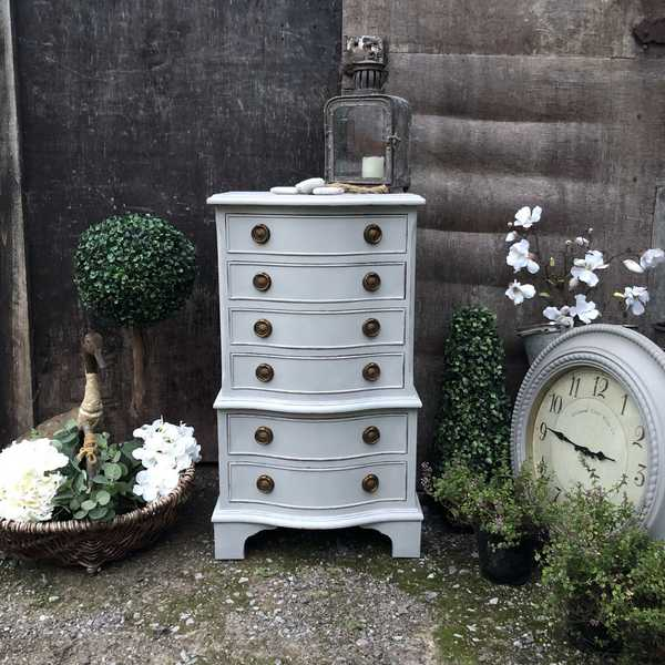 Bow Fronted Grey Painted Gustavian Style Vintage Tallboy Bedside Table Chest of Drawers