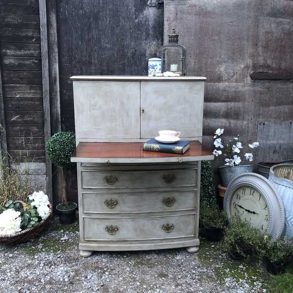 Grey Painted Vintage Country Bow Fronted Mahogany Cabinet Chest of Drawers Desk
