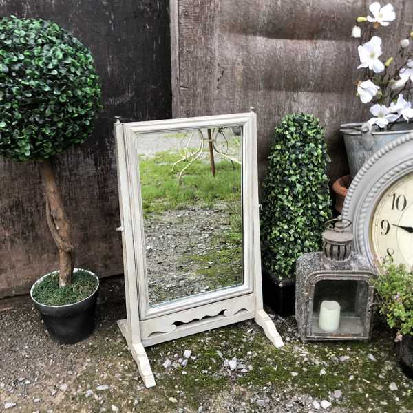 Pretty Antique Vintage Grey Hand Painted Country Chic Farmhouse Swing Table Mirror