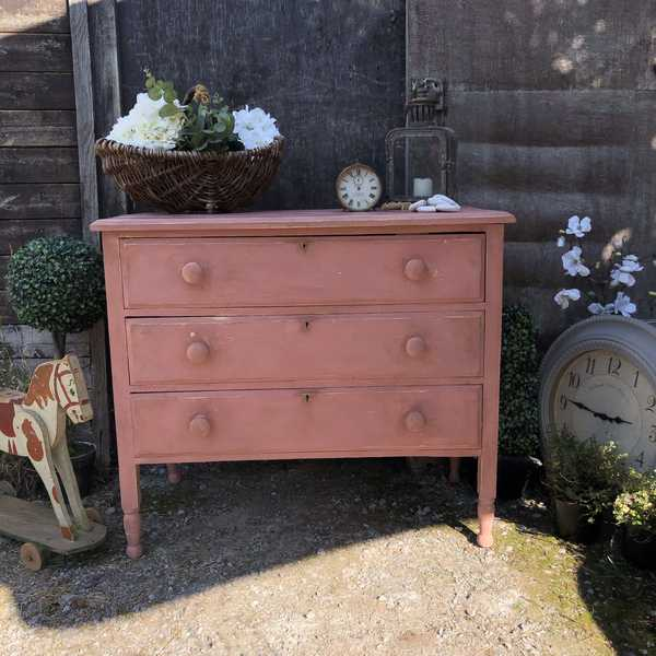 Scandinavian Pink Hand Painted Rustic Vintage Country Farmhouse Style Chest of Drawers