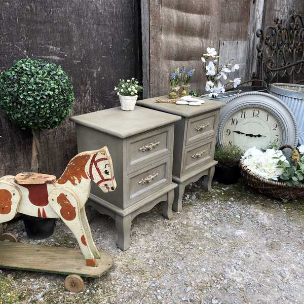 Pair of Small Country Rococo Style Grey Hand Painted Bedside Tables / Side Cabinets