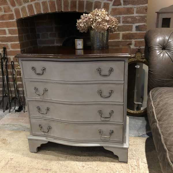 Grey Hand Painted Serpentine Country Chic Style Vintage Mahogany Chest of Drawers