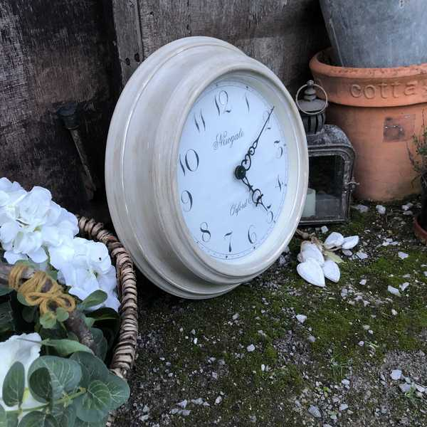 Charming Grey Hand Painted Aged Distressed Metal Country Farmhouse Style Wall Clock