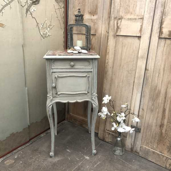 Marble Top Grey Hand Painted French Country Style Antique Pot Cupboard Bedside Table