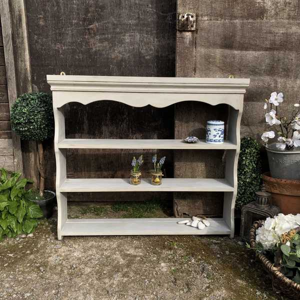 Grey Hand Painted Country chic Farmhouse Style Vintage Pine Plate Rack / Shelf Unit