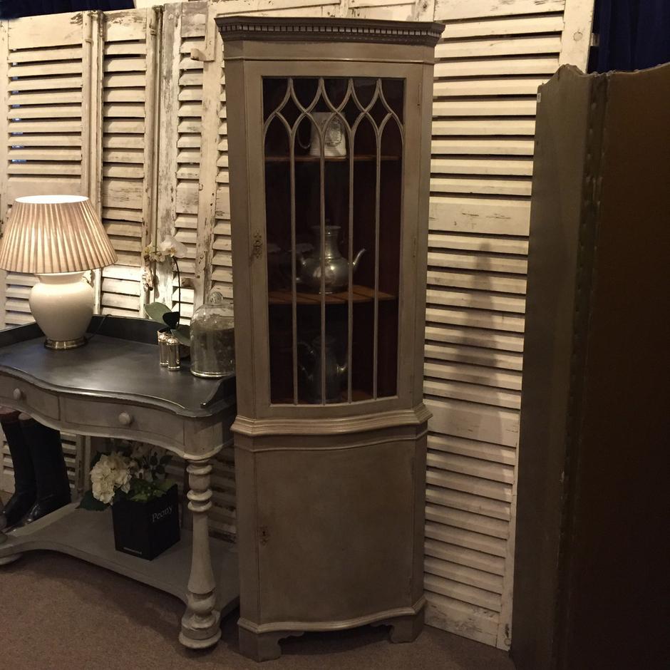 Elegant Vintage Antique Grey Hand Painted Glass Fronted Corner ...