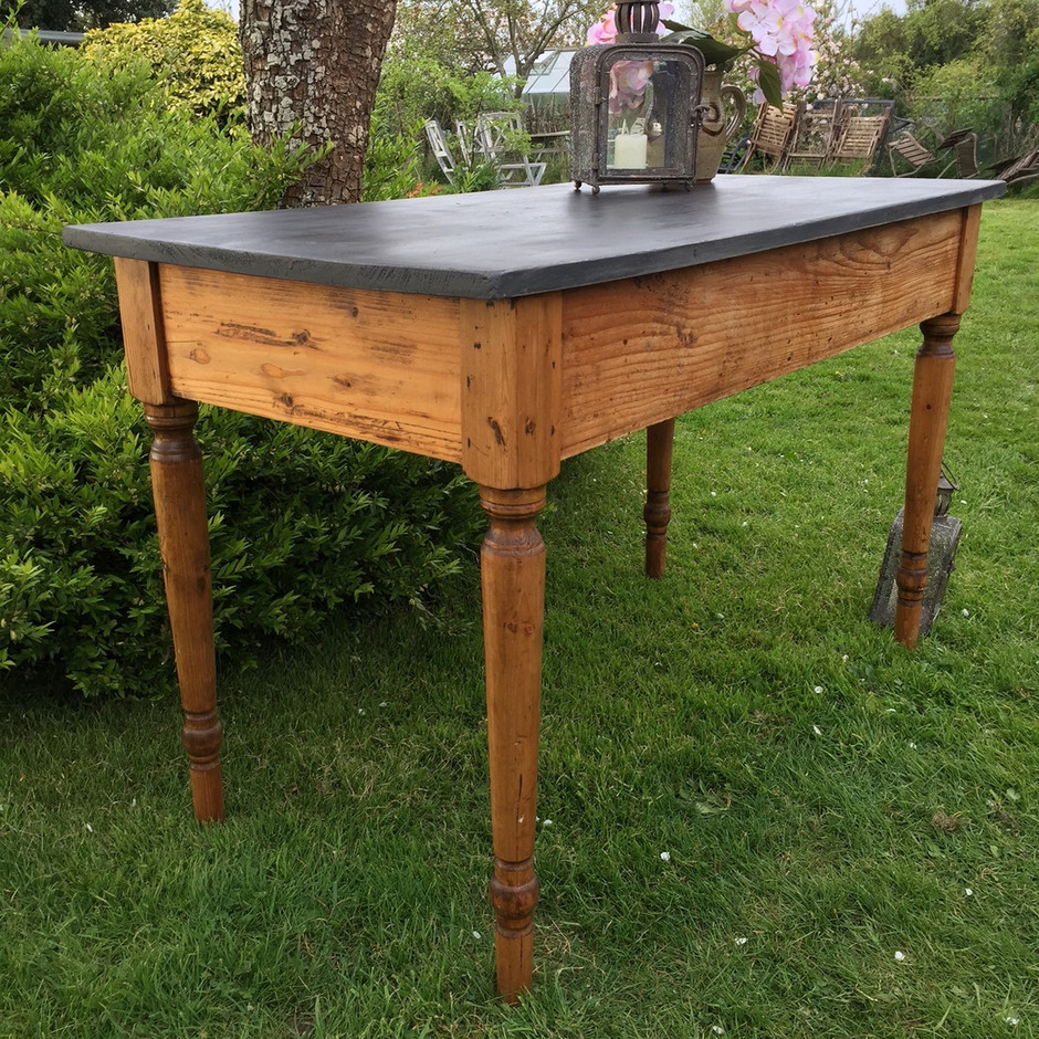 Pine Farmhouse Kitchen Table Rustic Country Farmhouse Pine Kitchen Table Writing Desk Black