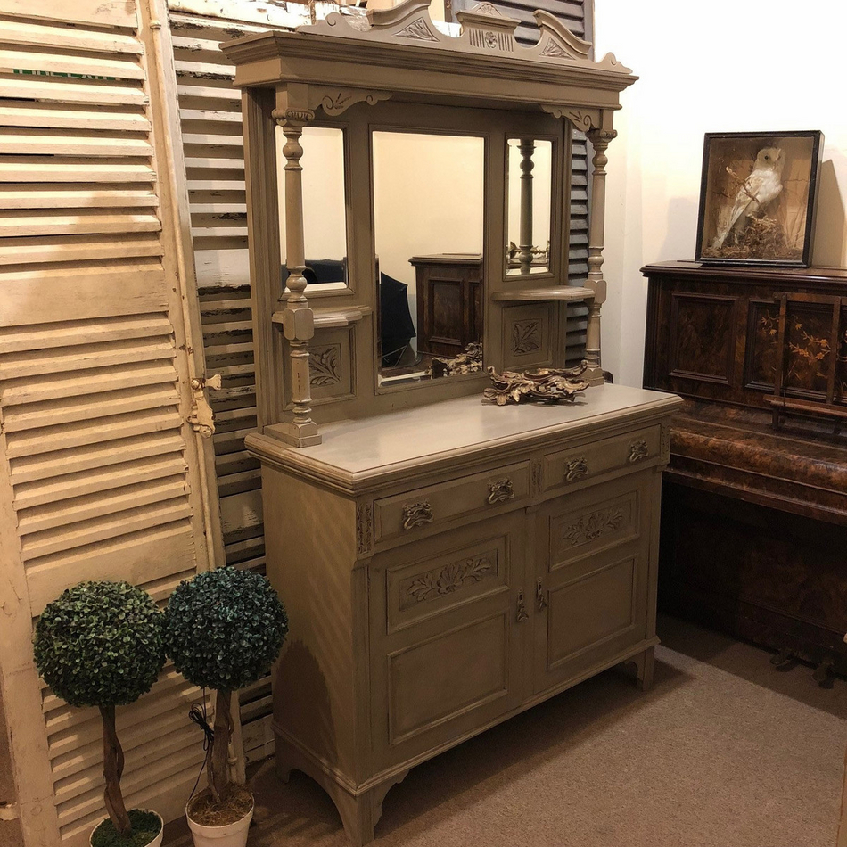 RESERVED! Antique Vintage Edwardian Grey Ornate Mirrored