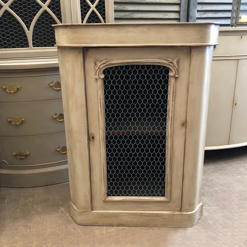 Rustic antique grey painted ornate country style french side cabinet chicken wire door