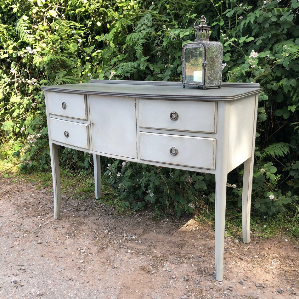 Two Toned Vintage Retro Grey Painted Sideboard Dressing Table Darker Grey  Top Handmade